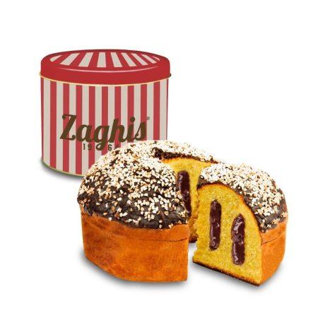 Zaghis Panettone kuglóf Csokoládé krémmel töltve, étcsokoládé bevonattal, cukor szórással / Farcito al Cioccolato / Fém díszdobozban / fémdobozos / Tin Box, 750g, 5072
