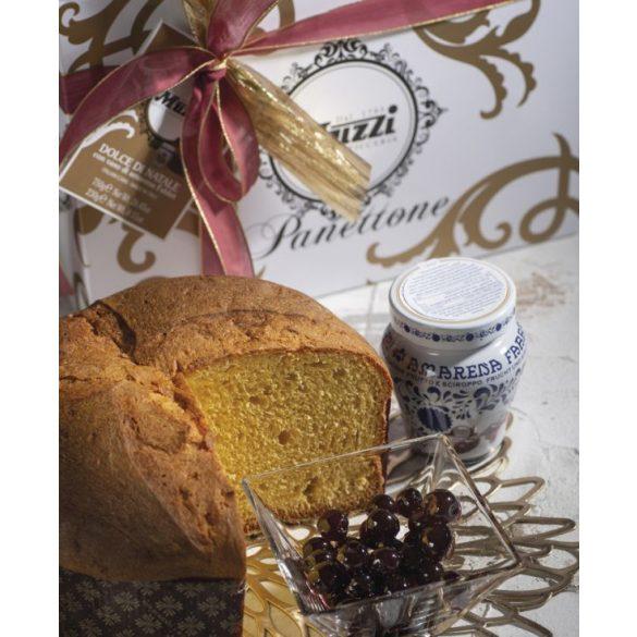 Muzzi Gran Classica Natúr Pandoro Díszdobozban + külön csészében meggy-szósszal és szórócukorral 750g+230g
